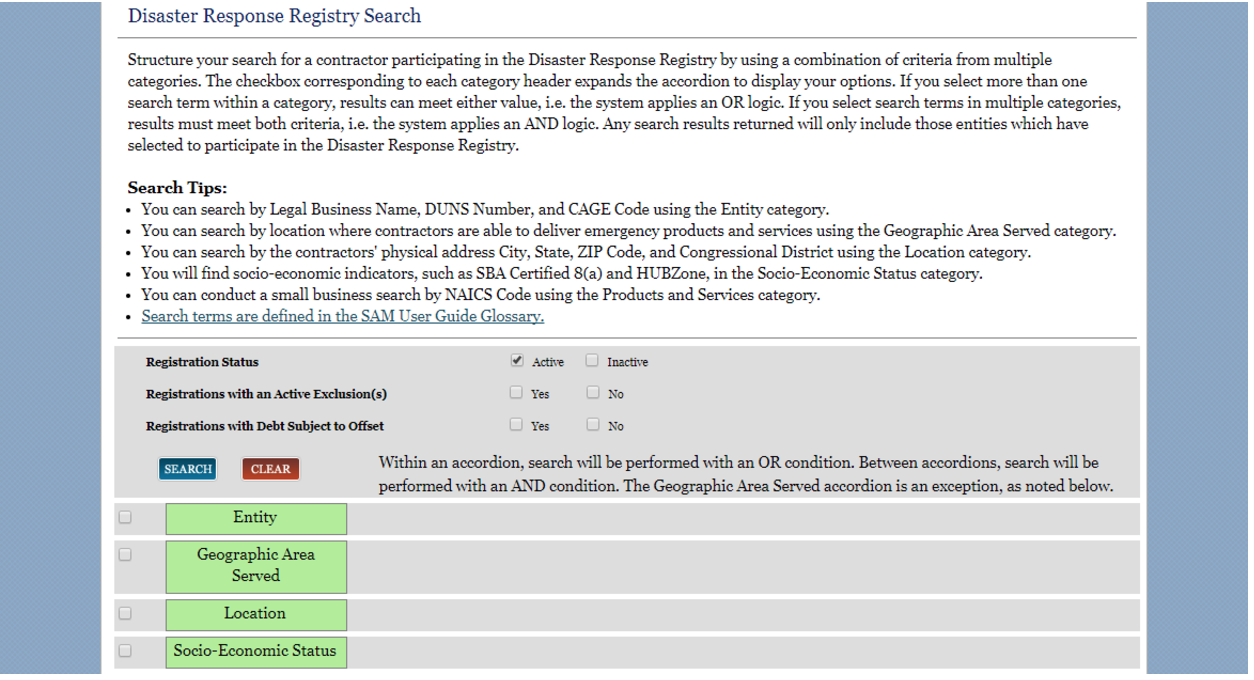 Disaster Response Registry Search